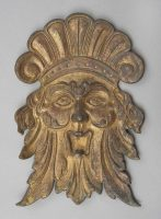 Antique Gilded Bronze Mask, Circa 1890