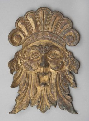 Antique Gilded Bronze Mask, Circa 1890