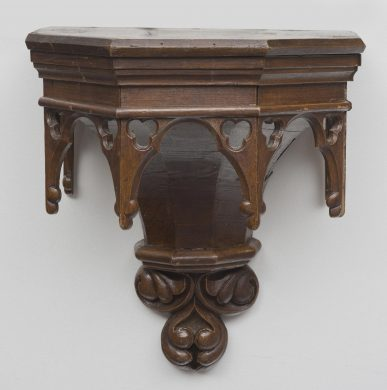 Antique Gothic Pine Wall Bracket, Circa 1850
