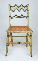 Gothic Revival Painted and Caned Side Chair
