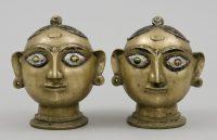 Antique Indian Bronze Heads of Gauri, 19th Century