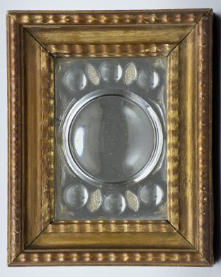 Antique Italian Cut-Glass Mirror in Gilded Frame