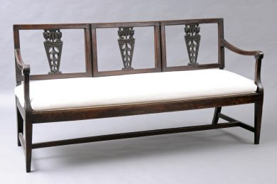 Antique Italian Walnut Settee with Carved Chinoiserie Heads, 18th Century