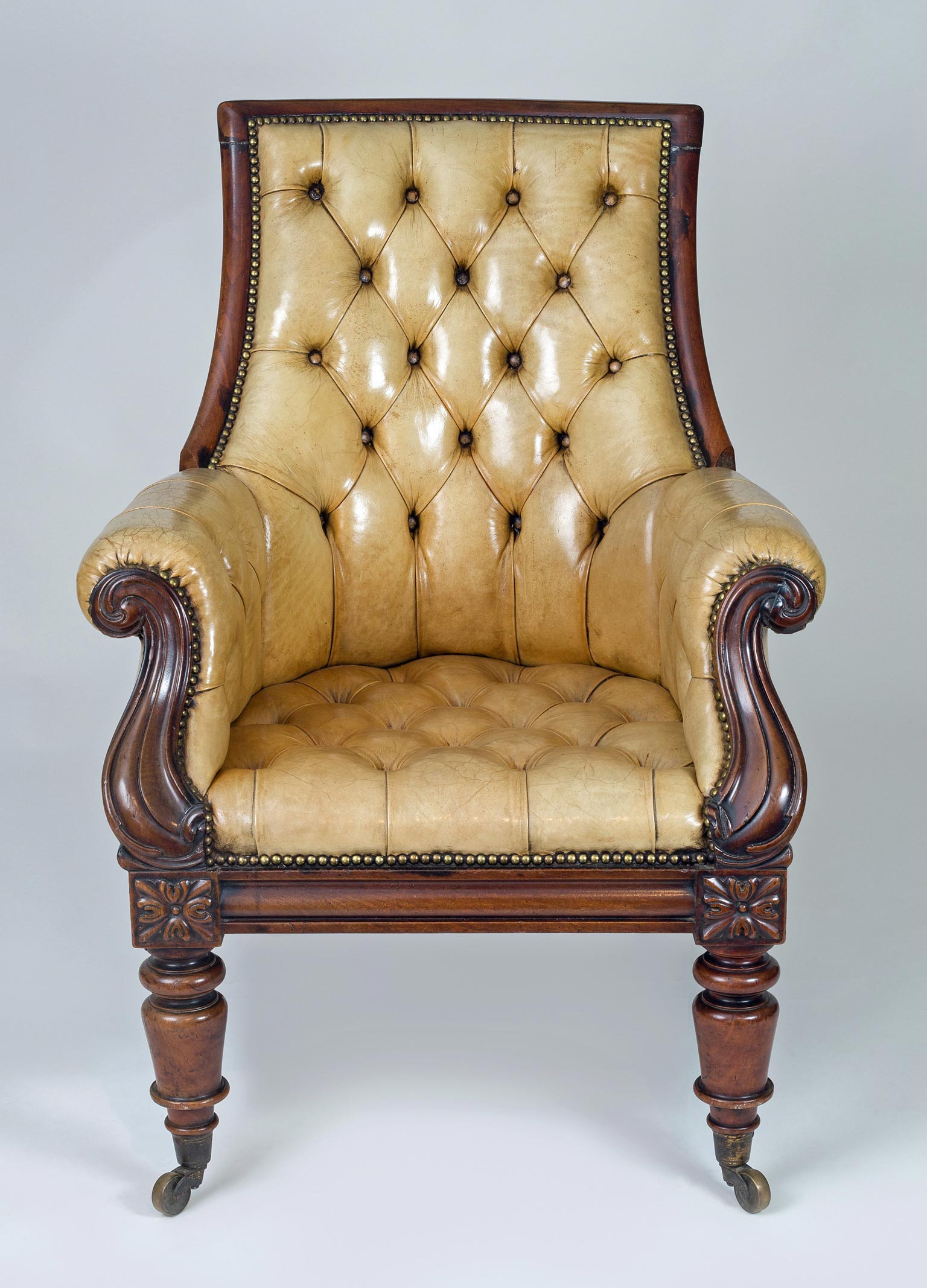 Mahogany Library Chair Deep Buttoned Leather Upholstery Street Price Antiques