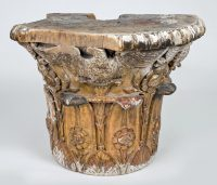Antique Giltwood Neoclassical Column Capital