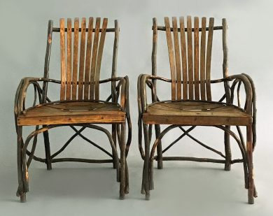 Pair of Adirondack Armchairs, Circa 1910