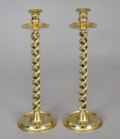 Pair Tall Brass Open Twist Candlesticks