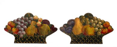 Antique Pair Tole Painted Bookends, Circa 1840