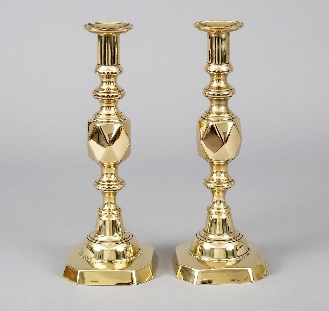 Antique Pair Victorian Brass Quot King Of Diamonds Quot Candlesticks