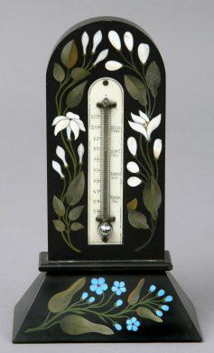 Antique Pietre Dura Thermometer, Circa 1860