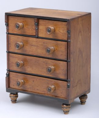 Antique Scottish Miniature Pine Chest, Circa 1850