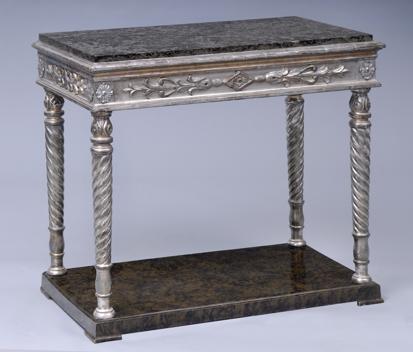 Antique Swedish Parcel Silver Leaf U0026 Marble Console Table, Circa 1840