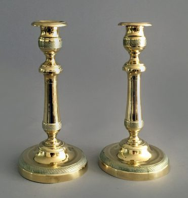 Pair of Brass Candlesticks, Circa 1840