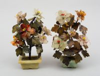 Pair of Assembled Chinese Hardstone Flowers
