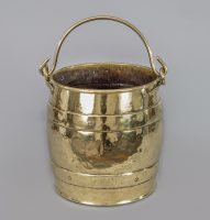 Brass Barrel-Shaped Coal Bucket