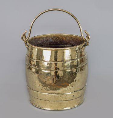 Brass Barrel-Shaped Coal Bucket