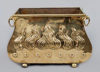 Brass Serpentine-Shaped Coal Scuttle