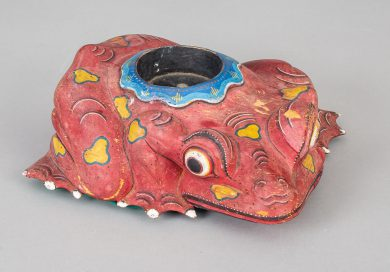 Chinese Antique Carved and Painted Frog