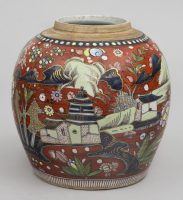 Chinese Blue and White Clobberd Jar, Circa 1780