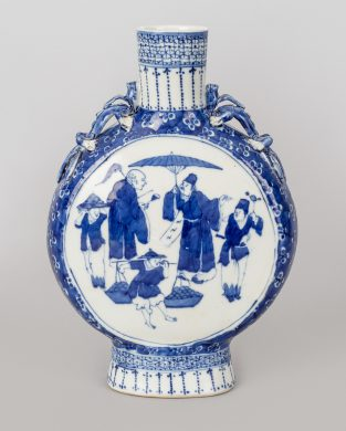 Chinese Export Blue and White Moon Flask