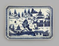 Chinese Export Canton Blue and White Tray
