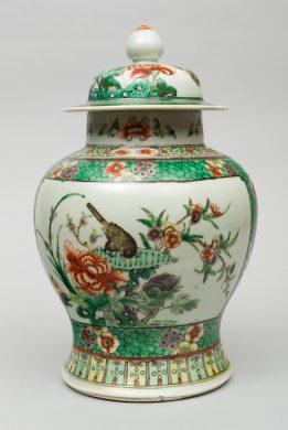 Chinese Famille Vert Covered Vase, Circa 1880