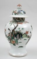 Chinese Famille Verte Baluster Jar and Cover, 18th Century
