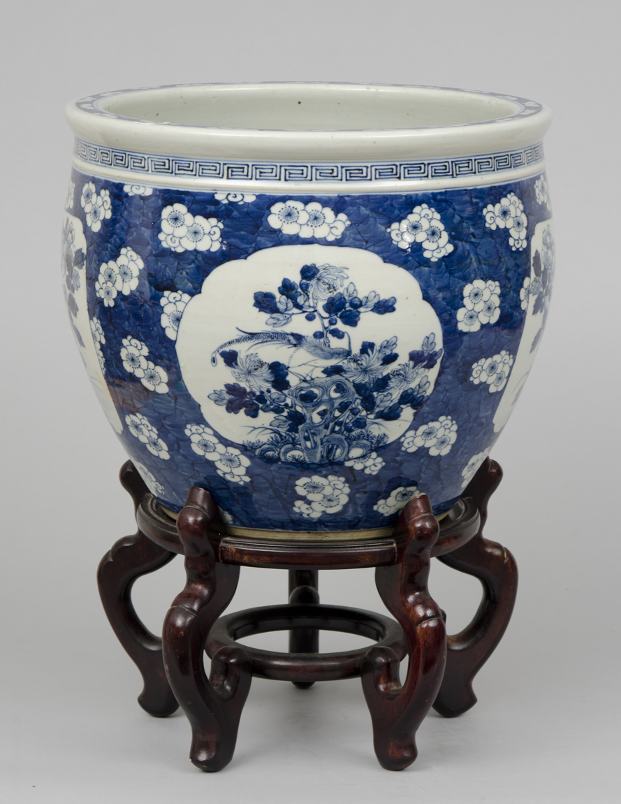 Chinese Export Jardiniere Or Fish Bowl On Stand Circa 1880