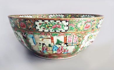Large Chinese Rose Medallion Punch Bowl