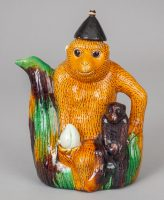 Chinese Qing Porcelain Monkey Teapot