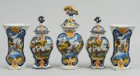 Dutch Delft Assembled Garniture Set, 18th Century