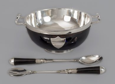 Ebonized Oak and Silver Plate Bowl and Servers