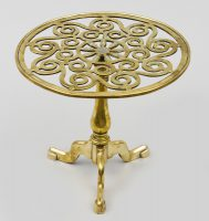English Antique Brass Tripod Trivet, Circa 1820