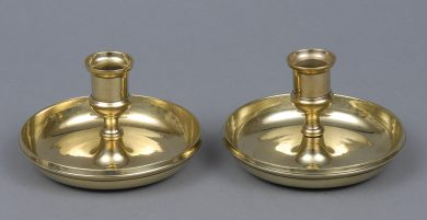 English Antique Campaign Travel Candlesicks