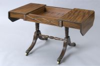 English Antique Fine Regency Period Sofa Games Table, Circa 1820