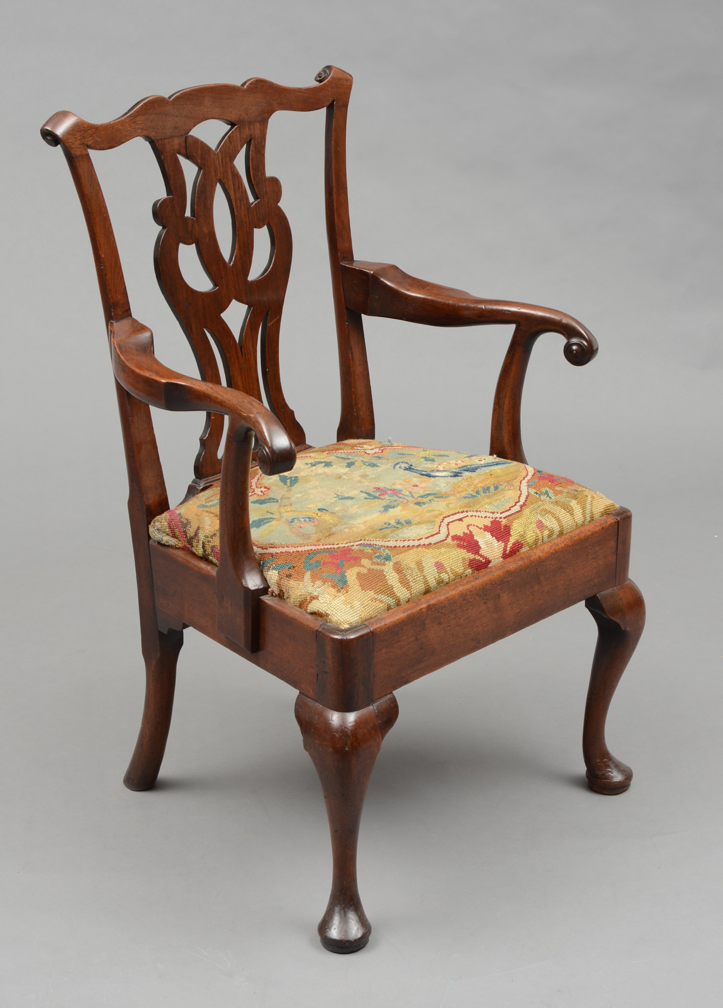 English Antique George III Chippendale Period Armchair, Circa 1760 - Antique Armchair George III Chippendale Period Antique Armchair