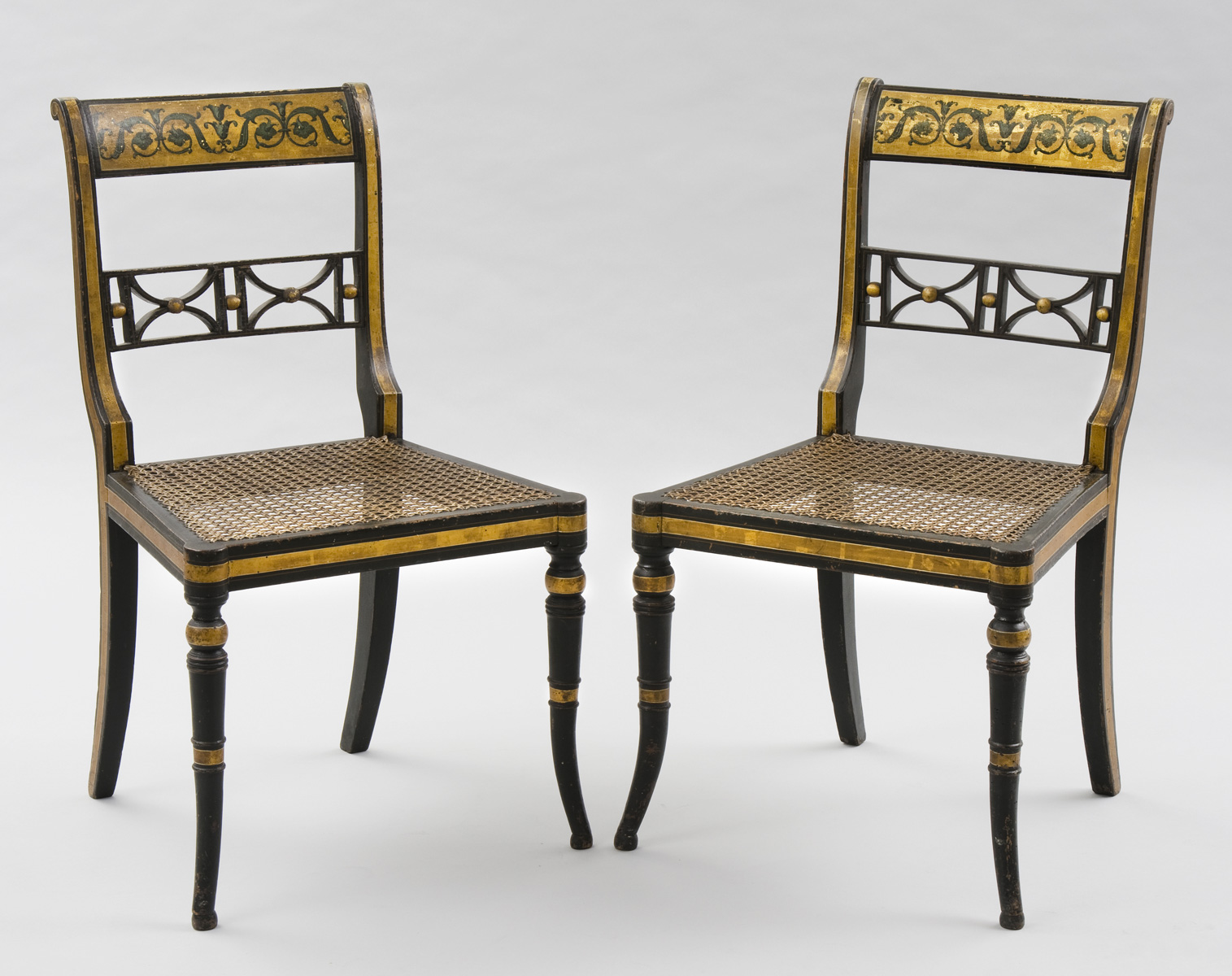 English Antique Pair Regency Gilded & Caned Side Chairs - Antique Chairs English Regency Gilded & Caned Antique Side Chairs