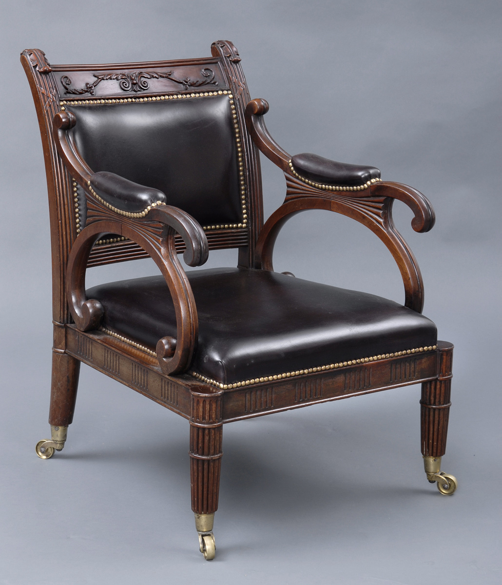 English Antique Period Regency Mahogany & Leather Library Armchair, Circa  1820 - Antique Library Chairs English Regency Mahogany & Leather Armchair