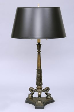 English Regency Antique Bronze Lamp, Circa 1820