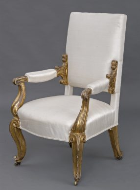 English Antique Regency Giltwood Open Armchair, Circa 1820