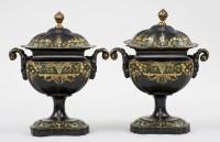 Regency Period Pair Tole Chesnut Urns, Circa 1810