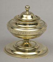 English Antique Round Brass Inkwell, Circa 1860