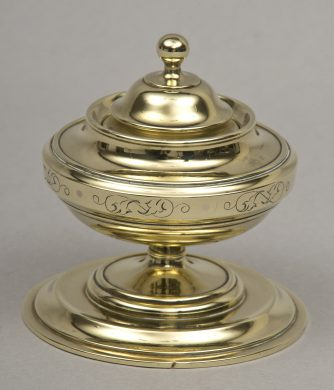 English Antique Round Brass Inkwell, Circa 1860
