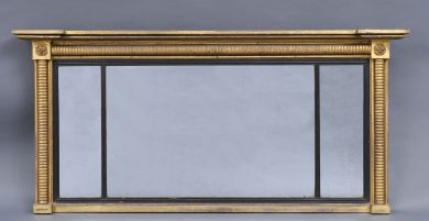 Antique William IV Overmantle Mirror with Reeded Columns