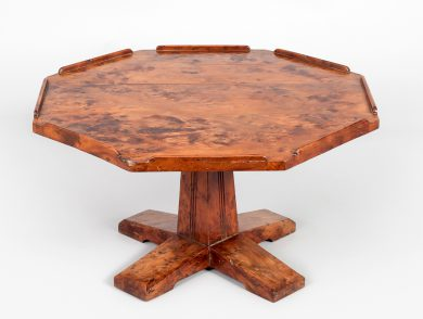 English Arts and Crafts Yew Wood Lazy Susan