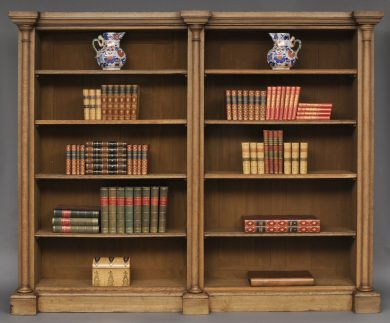 English William IV Bleached Oak Library Breakfronted Open Bookcase, Circa 1830