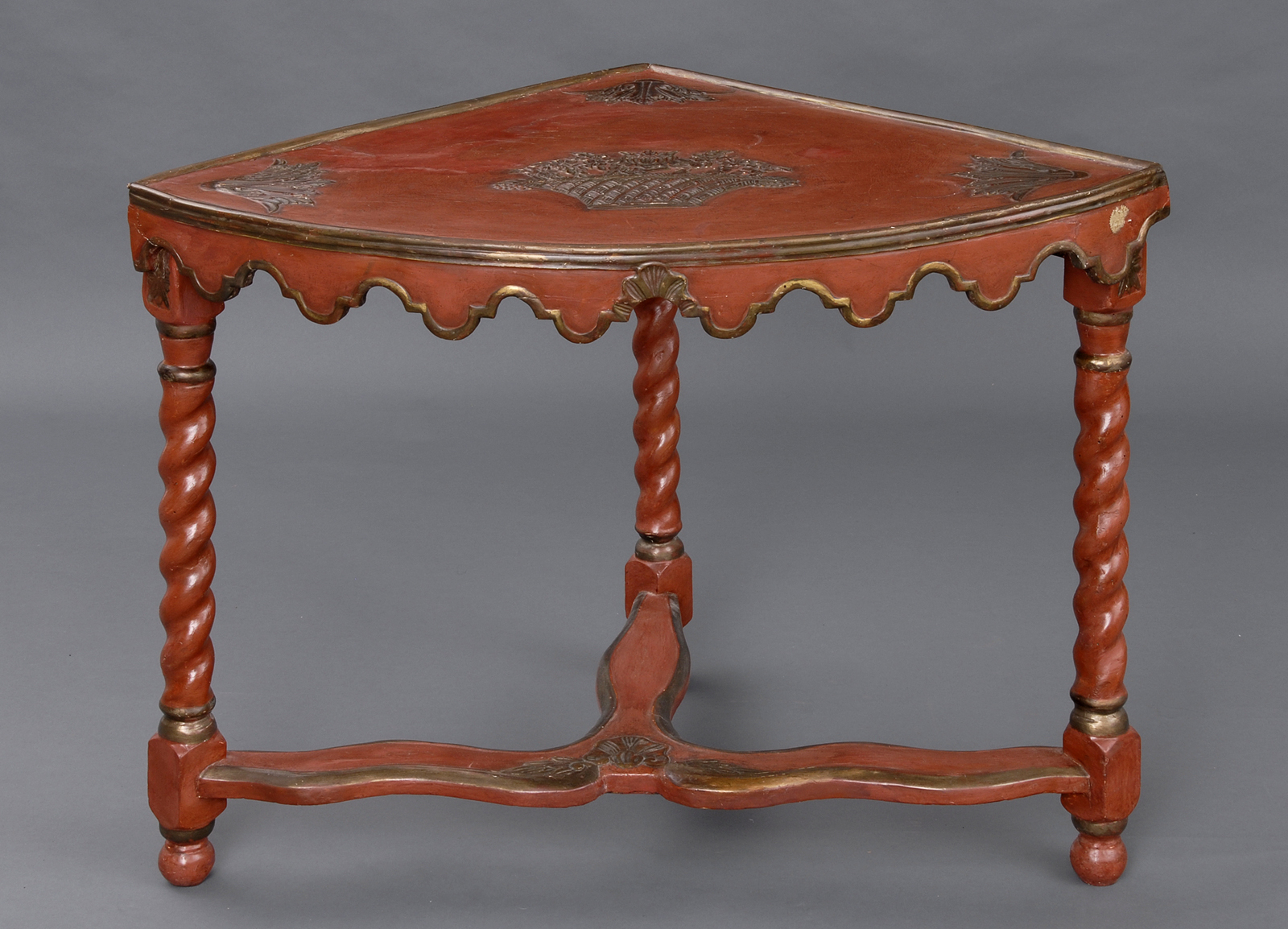 French Antique Lacquer Corner Table