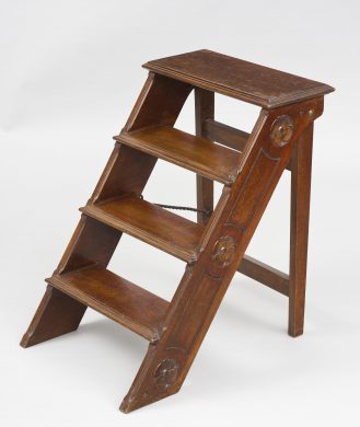 French Carved Mahogany Folding Step Ladder, Circa 1870