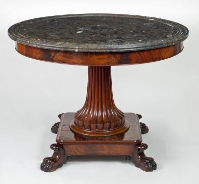 Charles X Mahogany and Marble Gueridon or Center Table