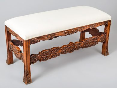 French Carved Walnut Bench